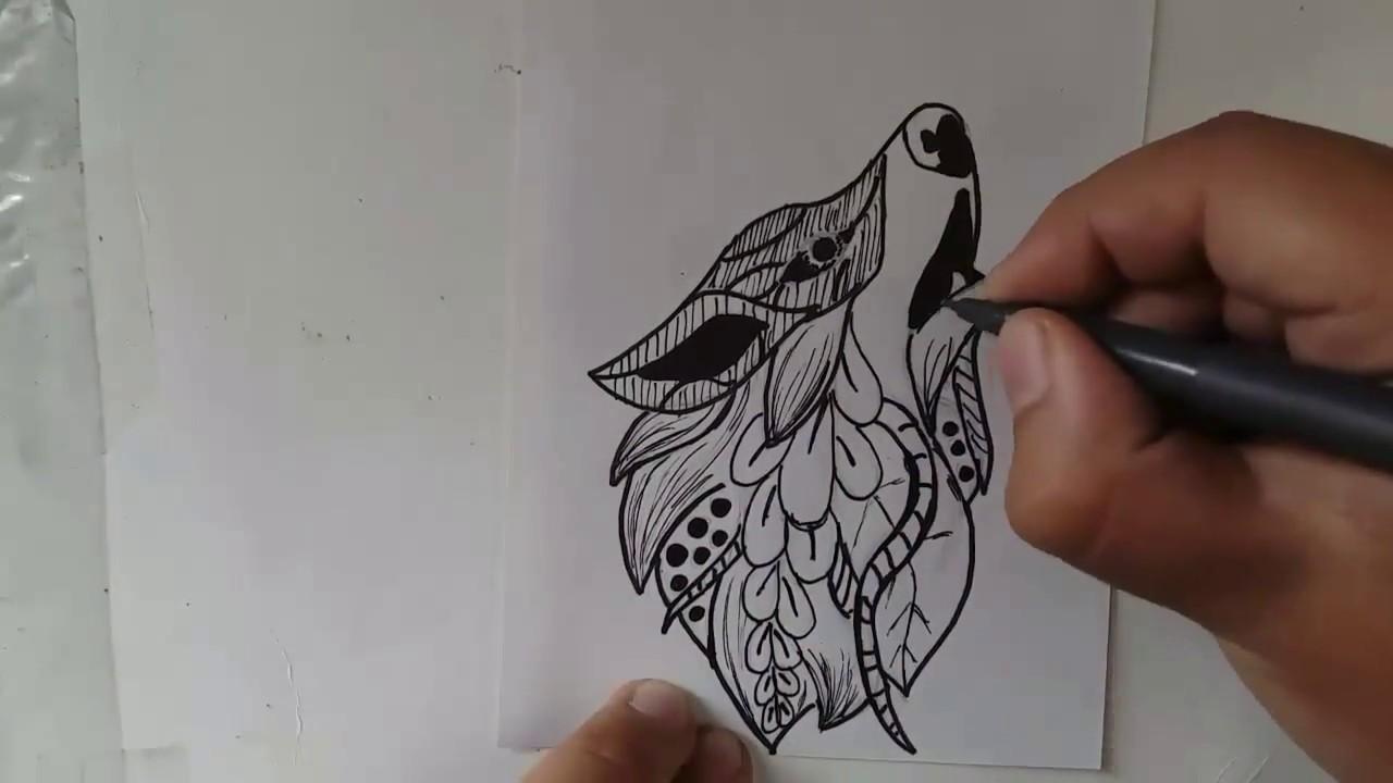 Como Dibujar Una Mandala De Lobo Youtube
