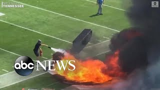 Pyrotechnics machine catches fire on field before NFL game | ABC News