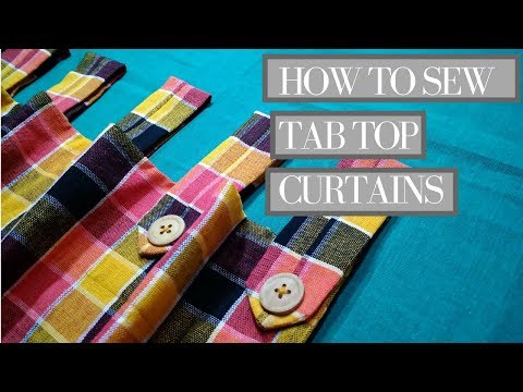 DIY Tab Top Curtains [ with wooden button loop] how to make