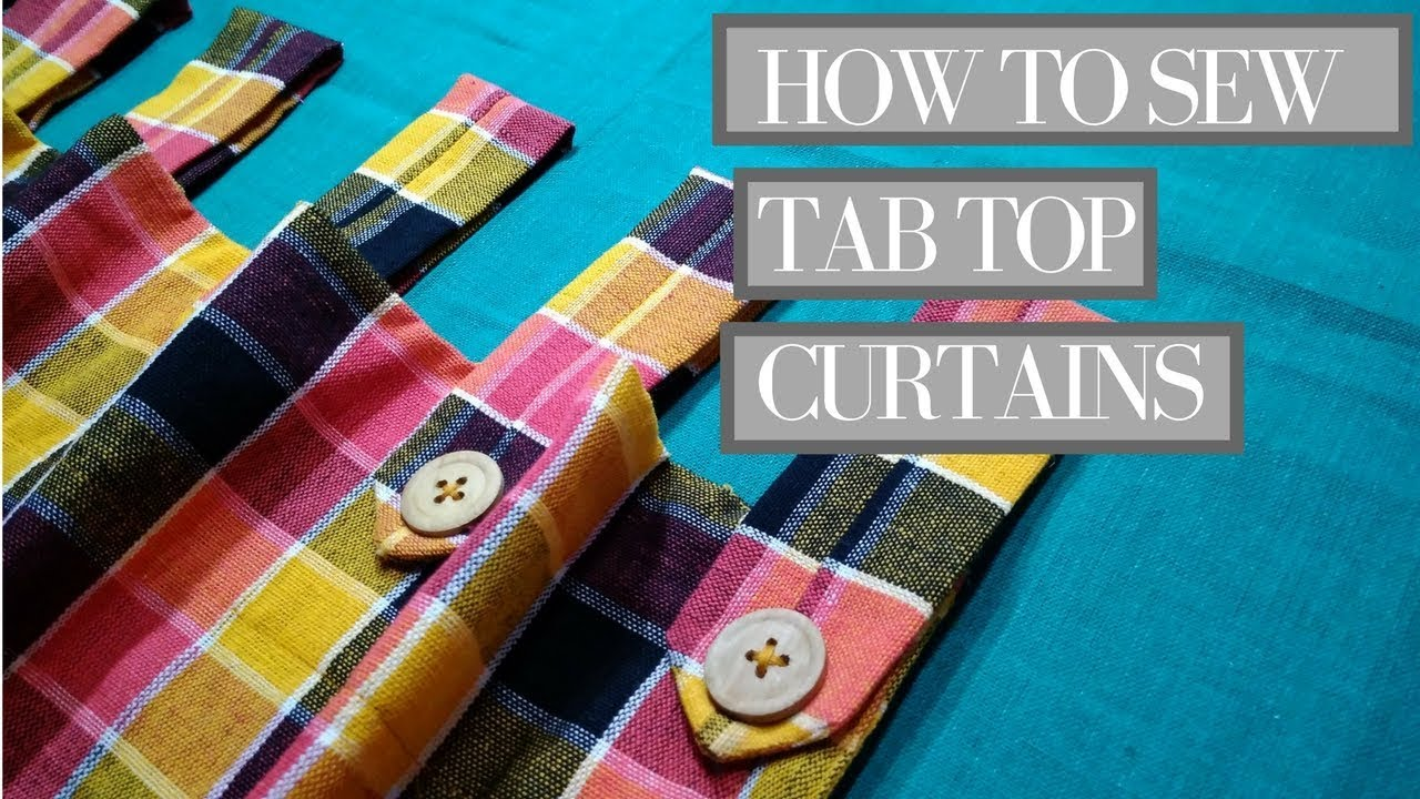 how to make curtains diy tab top curtains with wooden button loop youtube. Black Bedroom Furniture Sets. Home Design Ideas