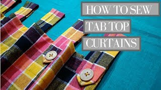 how to make Curtains DIY Tab Top Curtains with wooden button loop]