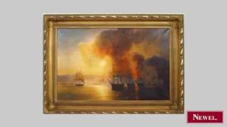 """Antique Copy of a seascape painting titled """"Capture of"""