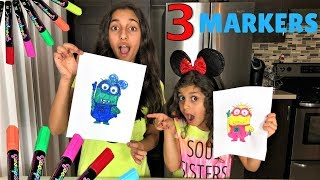 3 MARKER CHALLENGE!! sisters fun!