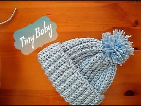 dd294eae0591b Easy Crochet Baby Premature hat Tiny Tutorial 10