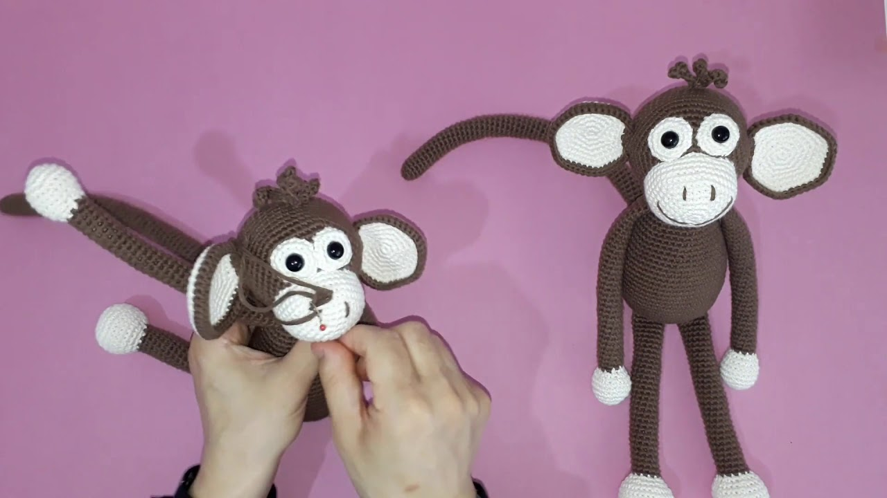 Amigurumi maymun yapımı örgü oyuncak maymun yapılışı amigurumi maymun ağız ve burun yapımı -12