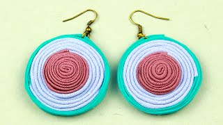 DIY Quilled Fabric Earrings