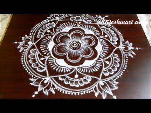 New Year Rangoli Design 2018 * Sankranthi Lotus Muggulu Designs With