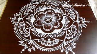 New Year Rangoli Design 2018 * Sankranthi Lotus Muggulu Designs With Dots * Lotus Pongal Kolam