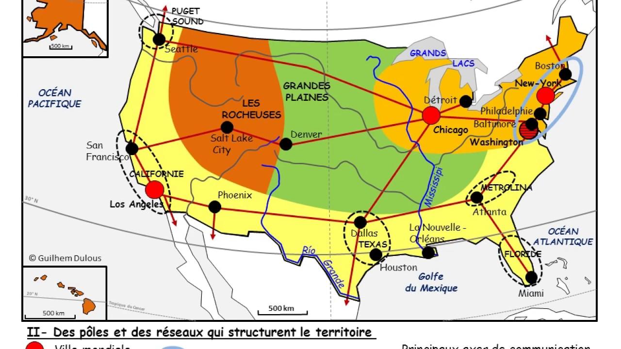 carte les dynamiques territoriales des etats unis Les dynamiques territoriales des États Unis   YouTube