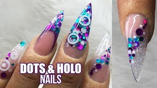 Long Pointed Acrylic Nails | Holographic Blue and purple with nail art | Glitter Planet