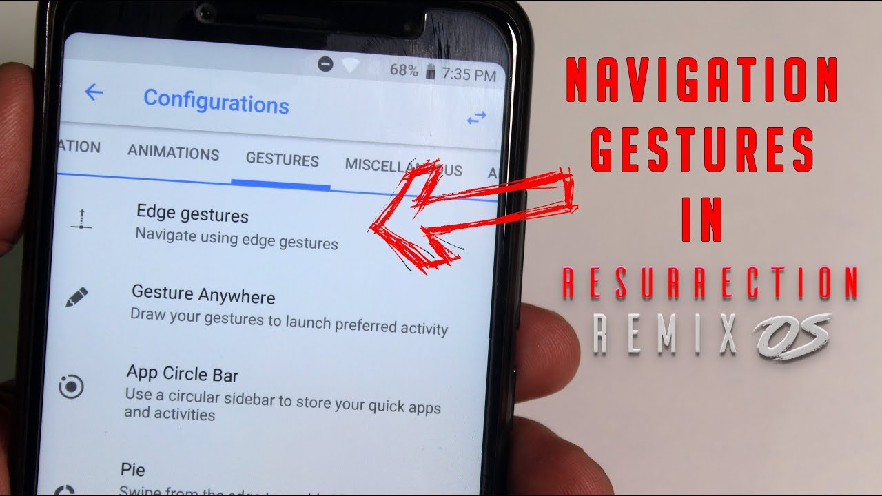 Navigation Edge Gestures In ResurrectionRemix On Redmi Note 5 Pro!