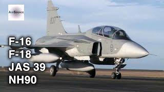 Norwegian F-16, Finnish F-18, Swedish JAS 39, Finish NH90 in Action