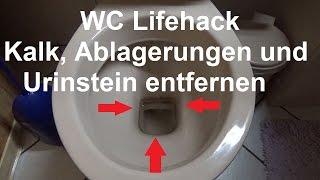 Hartnäckige Kalkflecken Urinstein entfernen Toilette WC Klo reinigen putzen Essig und Backpulver