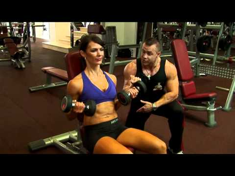 Ladies Seated Incline Dumbbell Curl Exercise