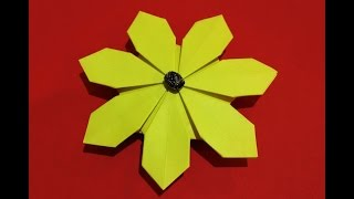 Easy Origami Flower Simple And Rich. 3d Paper Flower. Daisy Flower.
