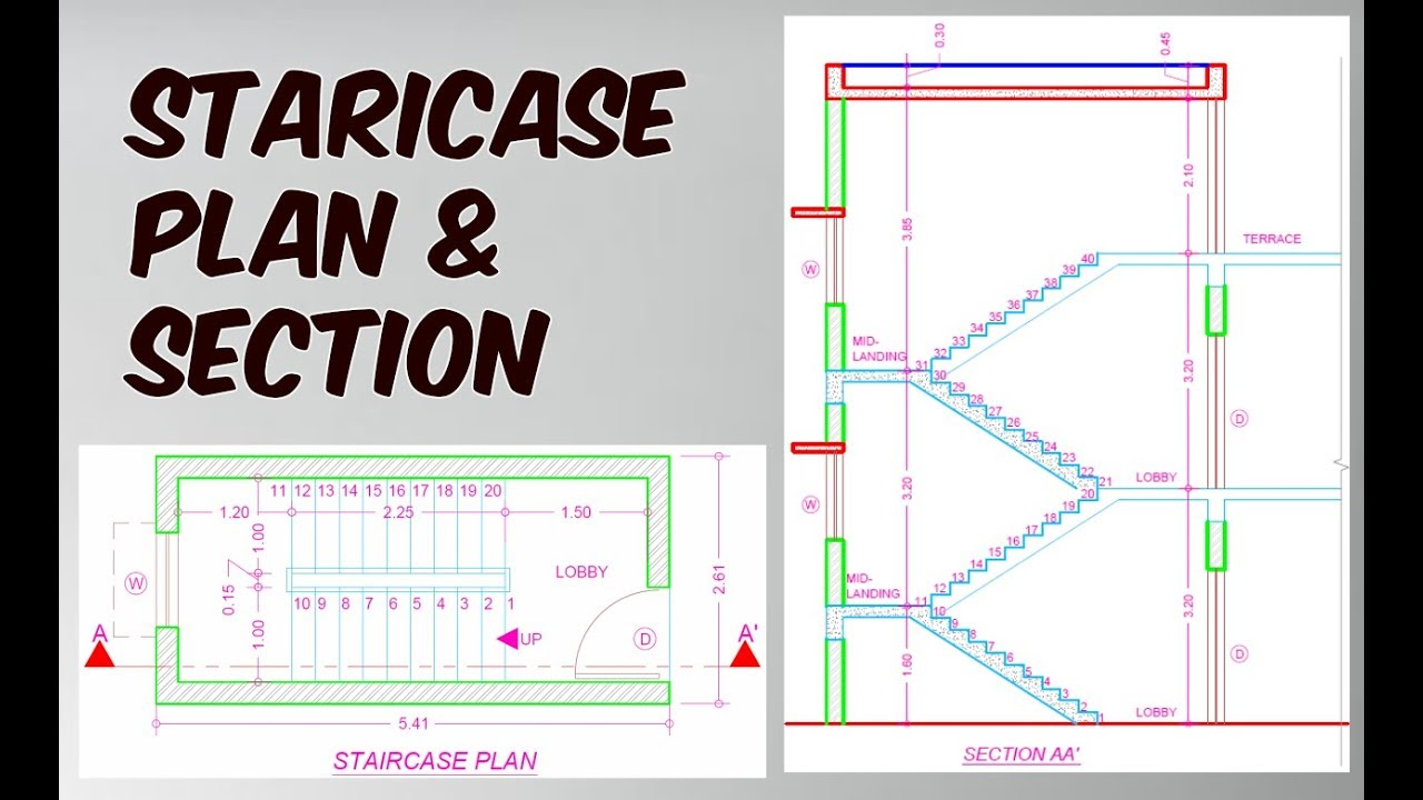 How to Draw Staircase Plan & Section in AutoCad? - YouTube