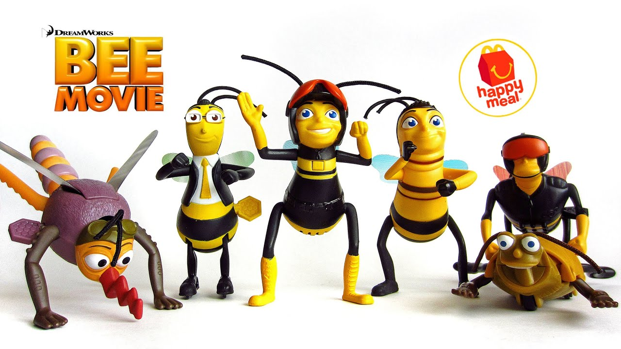 Dreamworks BEE Movie ~ Complete Set of 6 ~ McDonalds 2007 Happy Meal Toys