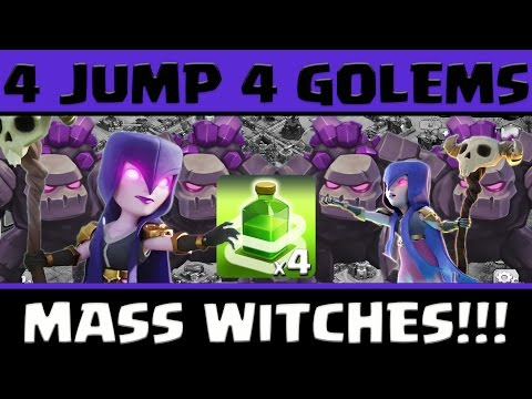 Clash Of Clans: 4 Jump 4 Golems | Mass Witches | TH11 3 Stars Attack