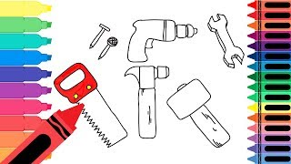 How to Draw a Carpenter Tool Set - Learn Drawing for Kids Art Colors for Kids - Tanimated Toys