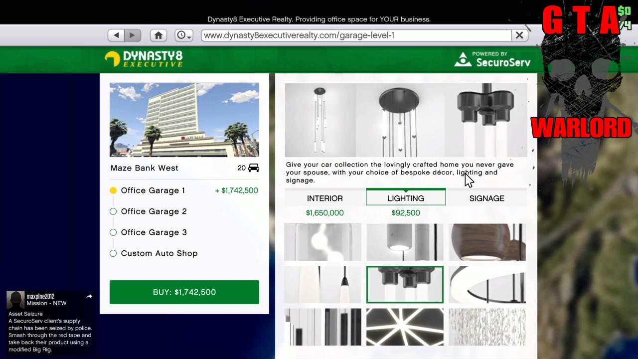 gta 5 ceo garage interior price guide information youtube. Black Bedroom Furniture Sets. Home Design Ideas