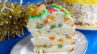 Торт на новый год 2019 Йогуртовый фруктовый тортик! Новогодний торт🍰