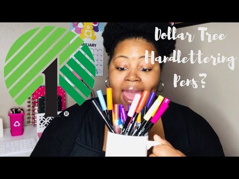 DOLLAR TREE HANDLETTERING PENS??!! | REVIEW!