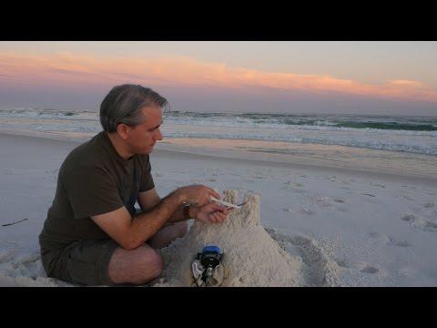 ASMR Tapping - Sand Castle Teardown (No Talking, 3Dio, Binaural, 4k, Ocean Waves, Beach)