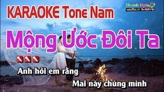 Mộng Ước Đôi Ta Karaoke || Tone Nam - Nhạc Sống Thanh Ngân