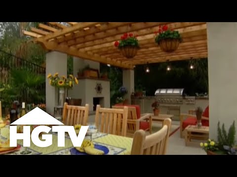 Backyard Patio Design with Outdoor Kitchen and Dining Room - HGTV Video