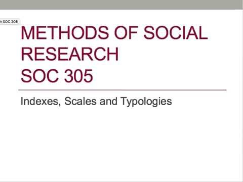 Indexes Scales Typologies