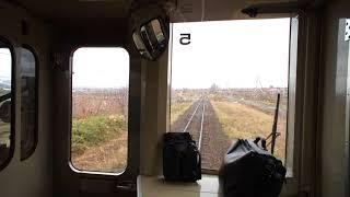 千代ヶ岡駅~西聖和駅間を走行する富良野線上りキハ150形の前面展望