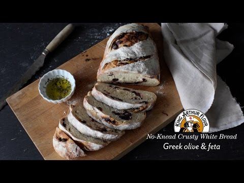 No-Knead Crusty White Bread: Greek Olive & Feta