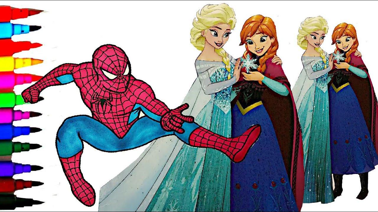 DISNEY FROZEN Elsa N Anna Vs Spiderman Coloring Book Videos Kids Fun Activities Balloons Toys