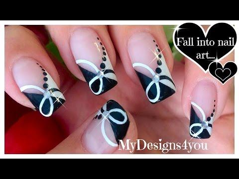 Quick Black and White Nail Art   Monochrome French ♥ Diseño de Uñas Negro y Blanco