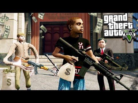 GTA 5 KIDS BIGGEST BANK ROBBERY EVER!!! (GTA 5 Mods)