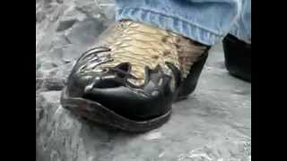 bootvideo 103 - Snakeskin Cowboy Boots With Black Overlay Wa
