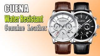 CUENA Luminous Hands Genuine Leather Waterproof Clock Men Quartz Watches