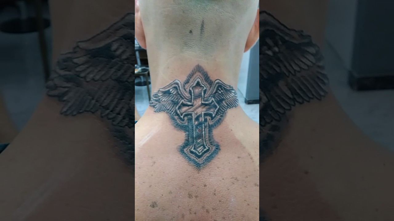Neck Tattoo Cross With Wings Small One Black And Grey Youtube