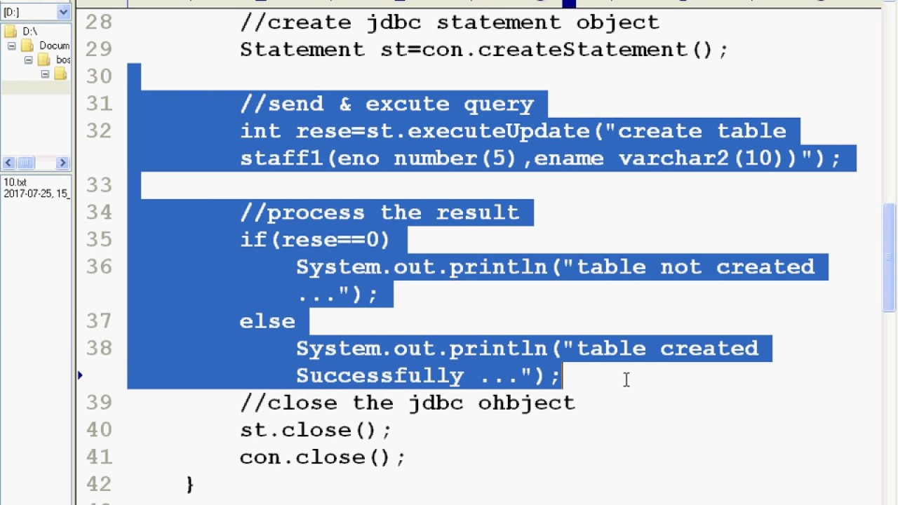 how to create table in oracle using jdbc