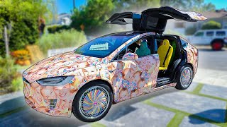 MY NEW TESLA!! (CAR COVERED IN MY FACE!) *EPIC*
