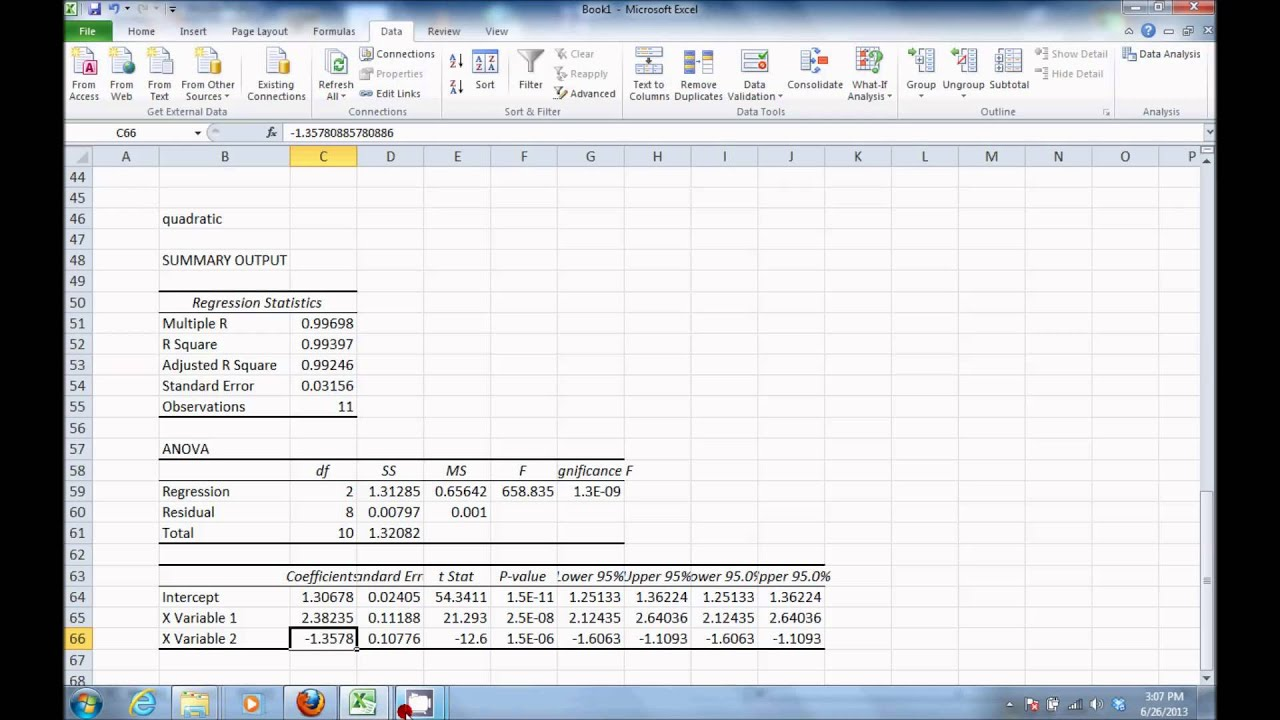 Quadratic Regression Analysis in Excel