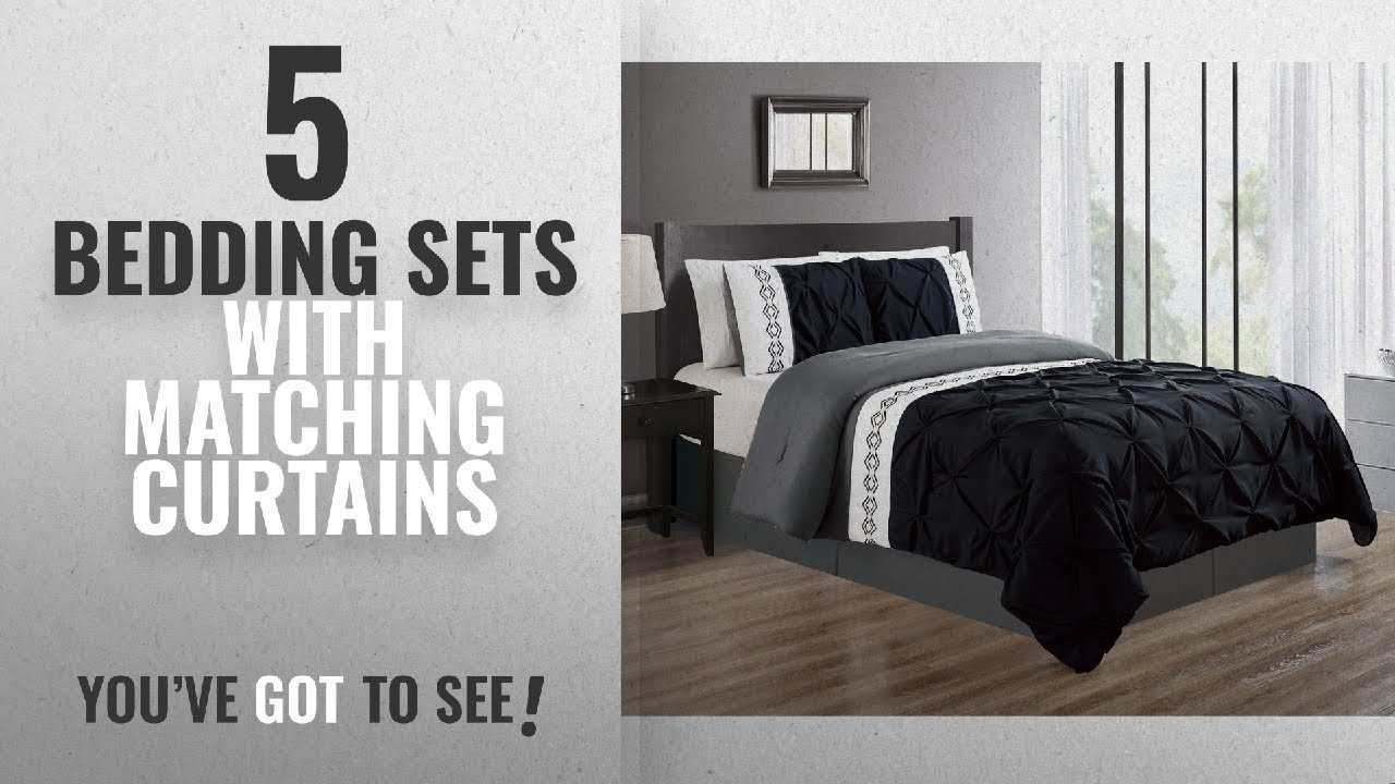 Top 10 Bedding Sets With Matching Curtains [2018]: 3 Piece KING size BLACK  / GREY / GRAY