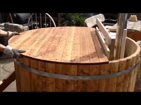 Wooden cover for hot tub-made of thermowood