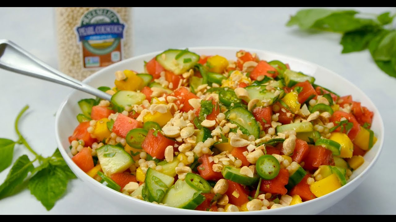 Cucumber, Couscous, Basil and Watermelon Salad by