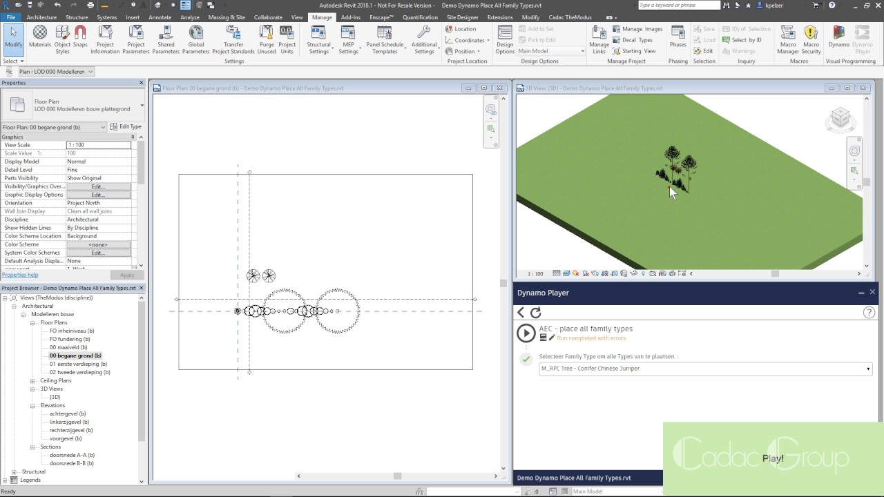 Revit | Dynamo | Place all family types by choosing a family type