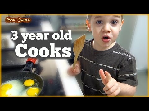 3 Year Old COOKS Breakfast - How to Cook Eggs