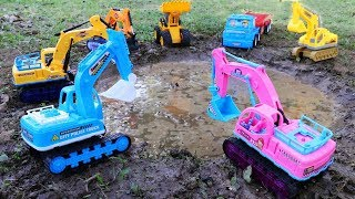 Excavator , Wheel loader In The Mud | Cleaning Toys Car