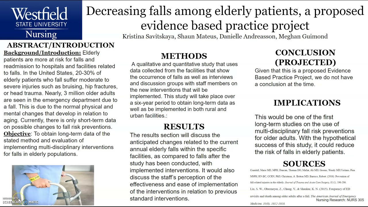 Decreasing falls among elderly patients, a proposed evidence based practice project