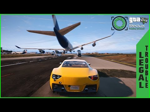 Grand Theft Auto V Legal Trouble Mission on Redux Graphics mod/Insane Airport Car chase Gameplay