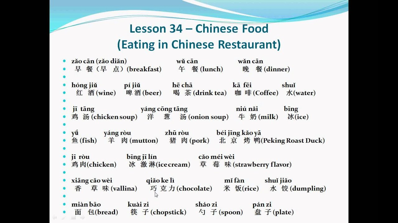 Mandarin Chinese-Lesson 34 (Chinese Food (Eating in Chinese ...